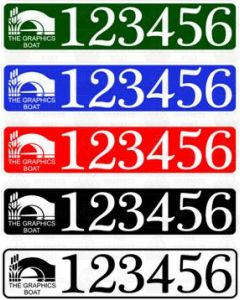 BW/CRT Boat Index Number / Sticker Plate Style - With Boat Name / Colour