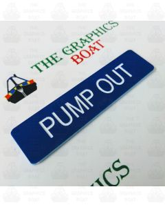 engraved Pump Out boat safety sign in Blue