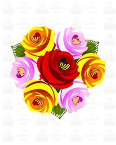 Traditional Style Canal Rose Sticker  Design 30B